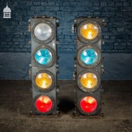 Pair of Vintage Four-Aspect Colour-Light Railway Signals by Westinghouse Brake & Signal Co Ltd.