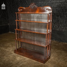 19th C Ornate Barley Twist Rosewood Waterfall Bookcase