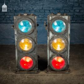 Pair of Vintage Three-Aspect Colour-Light Railway Signals by Westinghouse Brake & Signal Co Ltd.