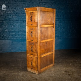 1920's Oak 4 Drawer Filing Cabinet