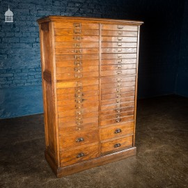 19th C Tall Oak Plans Filing Unit with Panelled Sides