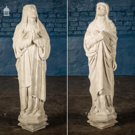 19th C Mary & Joseph Beer Stone Reredos Figures Statues