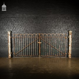 19th C Hoop Top Driveway Gates with a Pair of Octagonal Cast Iron Columns