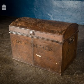 19th C Tin Dome Top Deeds Chest Miss M Smithers