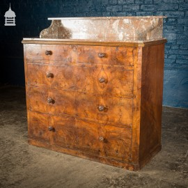 19th C French Walnut Veneer Marble Top Chest of Drawers