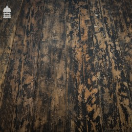 Reclaimed Scaffold Board Floorboard Wall Cladding with Black Painted Distressed Finish