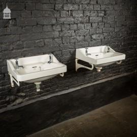 Matching Pair of Aci Paisley Ware Art Deco His and Hers White Ceramic 1930's Sinks