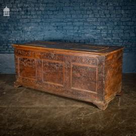 Late 16th C Italian Renaissance Cedar Wood Cassone with Carved Designs