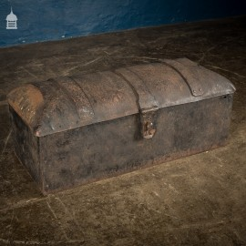 18th C Forged Dome Top Strongbox