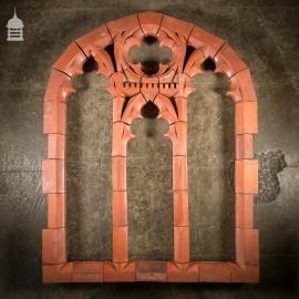 Rare 19th C Red Terracotta Gothic Mullion Window