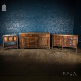 NARC Studio 'The Oak Printers Kitchen' Three Piece Set to include Kitchen Island, Sideboard and Sink Unit [No. 2]