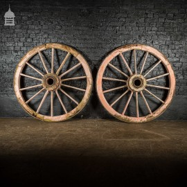 Pair of Large Wooden Agricultural Cart Wheels with Iron Rim Band
