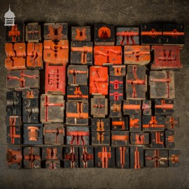 Collection of 60 Black and Red Industrial Factory Foundry Moulds