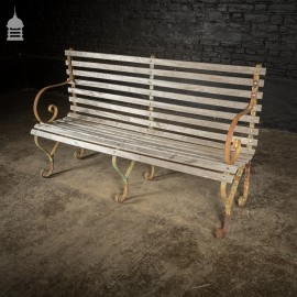 19th C Wrought Iron Garden Bench with Hardwood Teak Slats