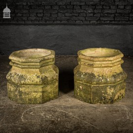 Pair of 19th C Buff Terracotta Octagonal Chimney Stack Bases