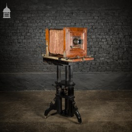 Circa 1890 Wet Plate Mahogany Studio Camera with Additional Lens and Backs on Height Adjustable Wheeled Tripod