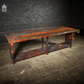 Pine Topped Custom Built 'Paint Shop' Dining Table with Iron Scroll Support Detail