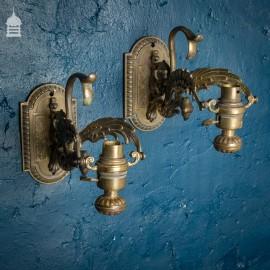 Pair of Brass Phoenix Wall Light Fittings