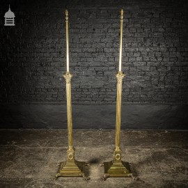 Pair of Brass Elkington & Co 19th C Neo Classical Corinthian Column Standard Lamp Bases with Paw Feet