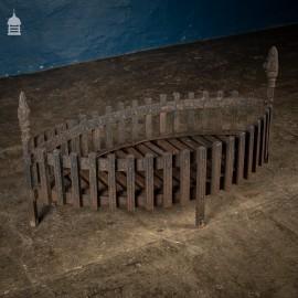 Large Vintage Cast Iron Point Oval Firebasket