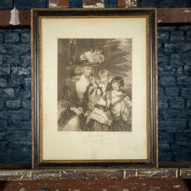 Framed Print of 1789 Engraving of Lady Smyth and Her Children: George Henry, Louisa and Charlotte