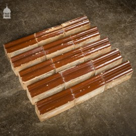 Set of 15 Brown Glazed Decorative Header Border Bricks
