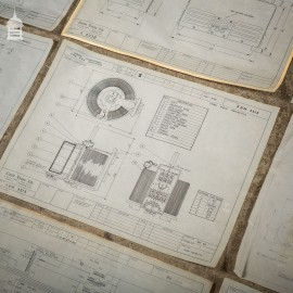 Large Collection of 180+ Vintage Industrial Drawings Schematics Papers