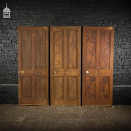 Set of Three 19 th C Faux Mahogany Grain Pine Internal Doors