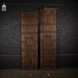 Pair of 19th C Hardwood Panels Panelling with Geometric Design