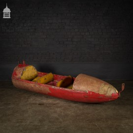 Vintage 20th C Distressed Red Fibre Glass and Timber Fairground Rocket Ride