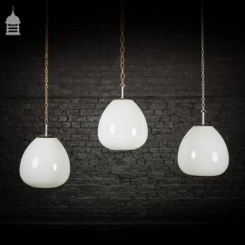 Set of 3 Large Vintage Opaline Tulip Pendant Lamp Shades with Polished Monks Cap Galleries
