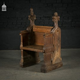 Pew/Settle comprising of 16th C Carved Oak Pew Ends with 19th C Alteration