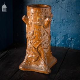 19th C Salt Glaze Grottoware Tree Stump Vase