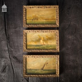 Set of Three Early 19th C Nautical Maritime Oil Painting Seascapes