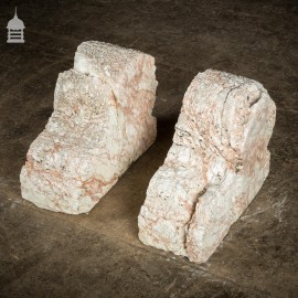Pair of Large Decorative 18th C Heavily Eroded Marble Fireplace Corbels