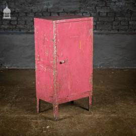 Vintage Industrial Steel Workshop Cupboard Cabinet with Distressed Pink Paint