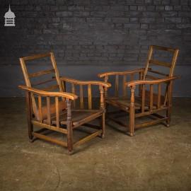 Pair of Edwardian Folding Oak Lounge Chairs