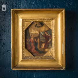 16th C Oil on Alabaster Slab Religious Painting in Gold Frame