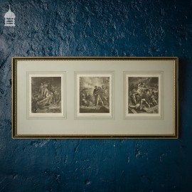 19th C Engravings of Maritime Battle Scenes in Later Frame