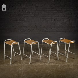 Set of 4 Vintage Steel Framed Stackable School Lab Stools - 14 sets available