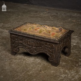 19th C Carved Oak Foot Stool with Hanging Fruit Design