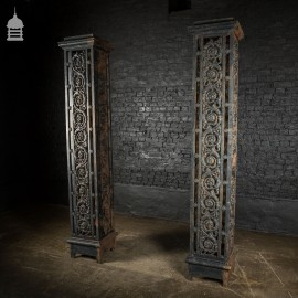 Large Pair of 19th C Decorative Cast Iron Entranceway Gate Posts