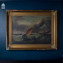 19th C Oil on Canvas Nautical Maritime Painting signed J. Lemons