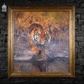Contemporary Signed Oil on Board of a Bengal Tiger 'The Wet Approach' by A Walmsley