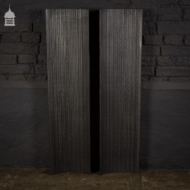 Pair of 19th C Curved Cast Iron Fire Sides with Simple Design