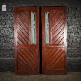 Pair of Edwardian Semi Glazed Pine Double Doors With Mahogany Finish