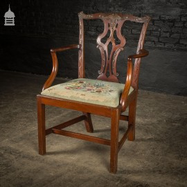 19th C Mahogany Carver Chair Attributed to Chippendale with Floral Tapestry Seat Pad