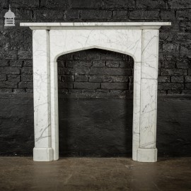 19th C Gothic White Carrera Marble Fire Surround