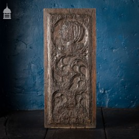 16th C Gothic Carved Oak Panel with Figure and Floral Decoration