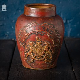 Small Victorian Red Painted Shop Tobacco Jar with Royal Crest Marked 'Returns'